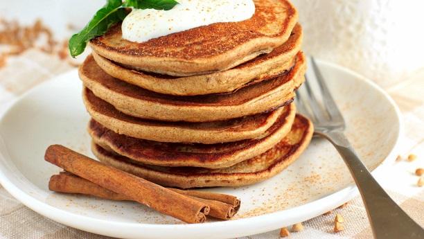 Apple-Cinnamon Pancakes with Lemon Yogurt Topping