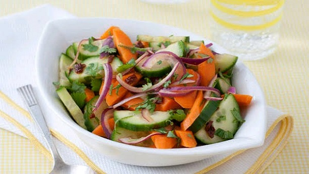Carrot and Cucumber Salad with Spiced Mustard Dressing