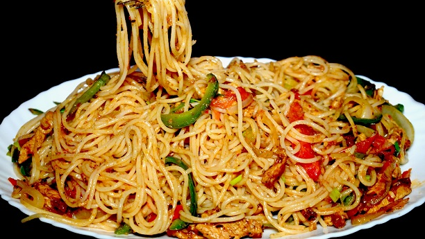 Chicken and vegetable spaghetti