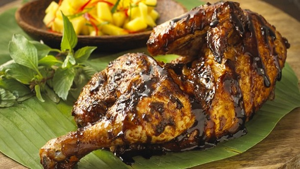 Green Chili Roast Chicken in Banana Leaves