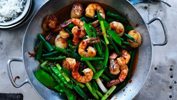 Prawns with Mange Tout