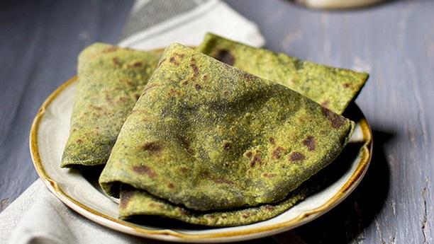 Spinach and Basil Roti