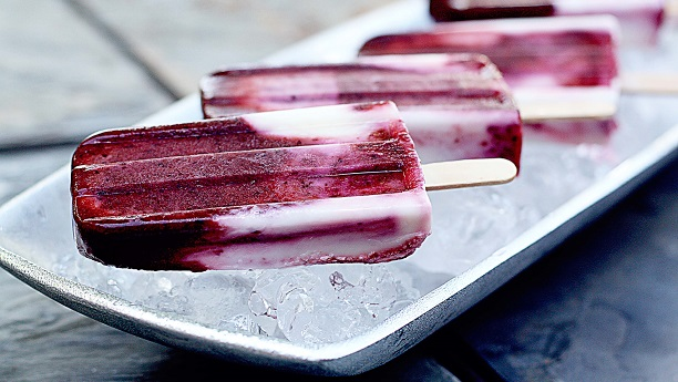 Cherry-Vanilla Yogurt Pops