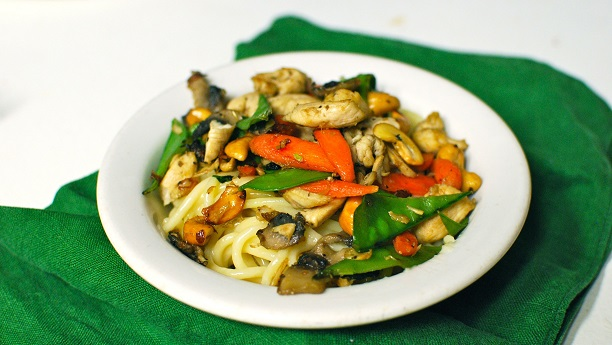 Chicken, Ginger And Cashew Stir-Fry With Coconut Noodles