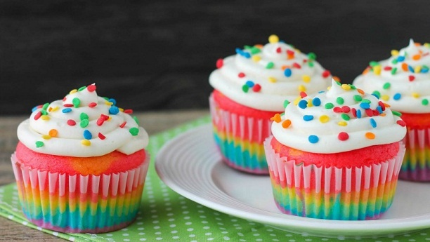 Rainbow Cupcakes with Butter Frosting
