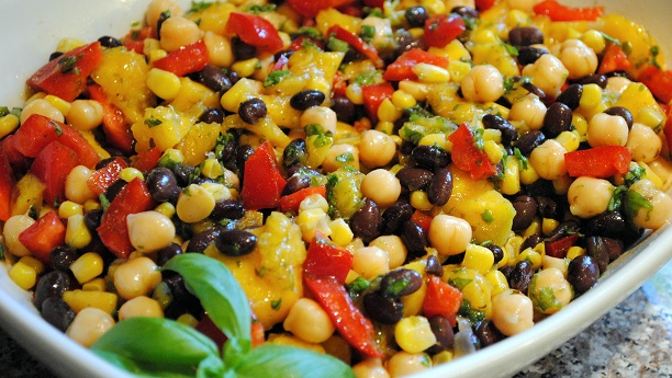 Sweet Roasted Corn Salad with Beans & Tomatoes