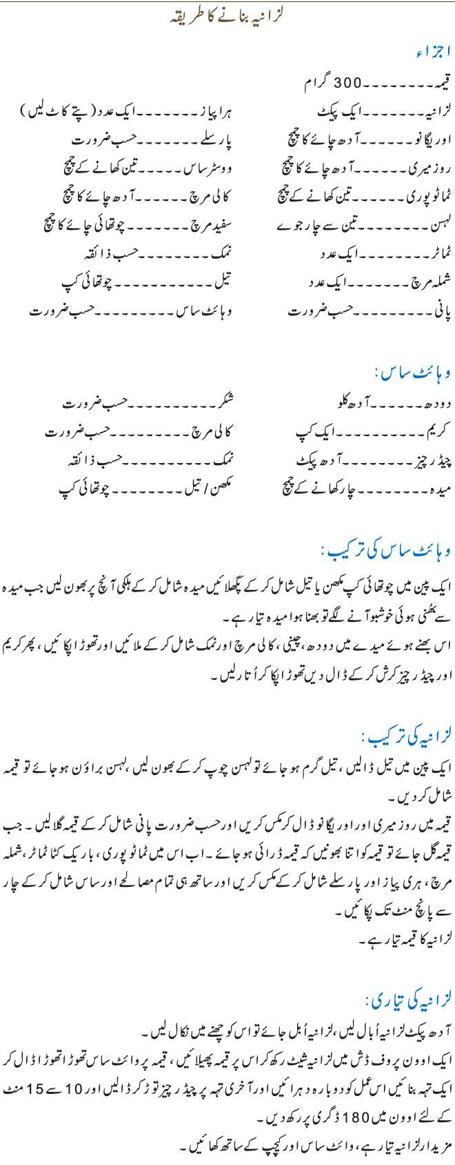 lasagna banane ka tarike Urdu