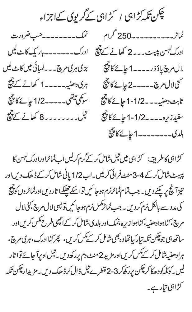 Tikka Karahi Urdu Recipe Step By