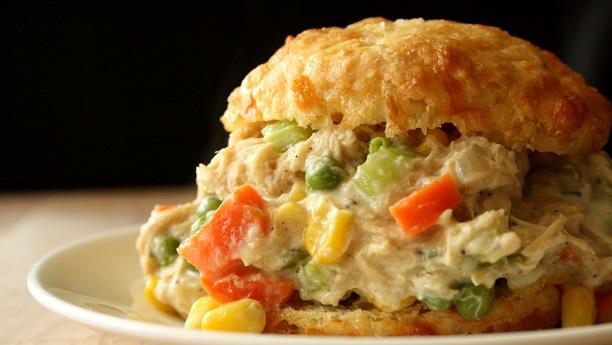 Chicken Pot Pie Sandwich