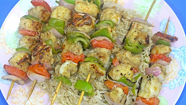 Chicken Shashilk With Fried Rice Recipe
