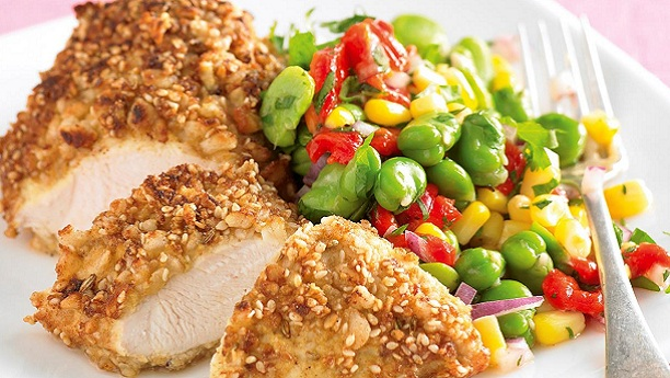 Fried Chicken and Bean Salad