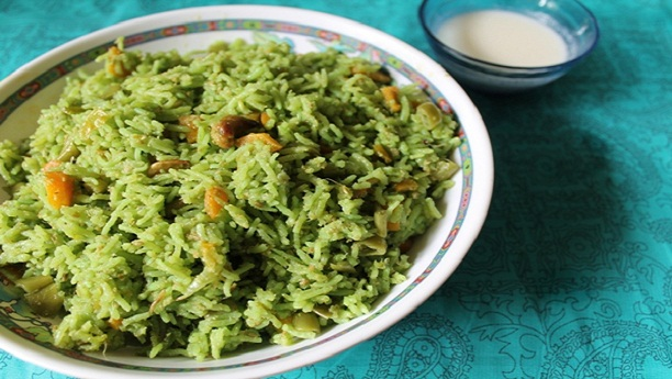Hyderabadi Green Biryani by Shireen Anwar