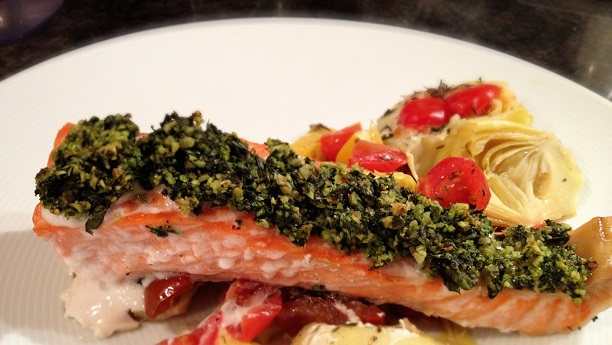 Pesto Salmon with Roasted Artichoke Hearts