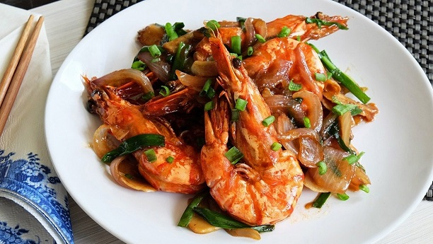 Prawns With Spring Onion