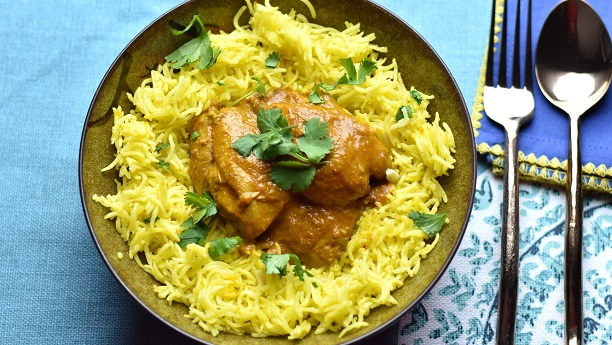 Saffron Chicken With Saffron Infused Rice Recipe