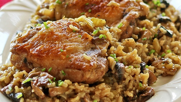 Chicken and Mushrooms with Brown Rice