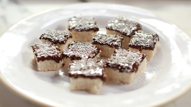 Chocolate Burfi with Toasted Coconut