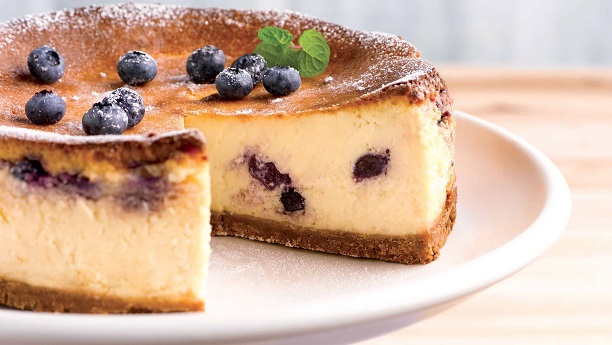 Eggless Blueberry  White Chocolate Cheesecake