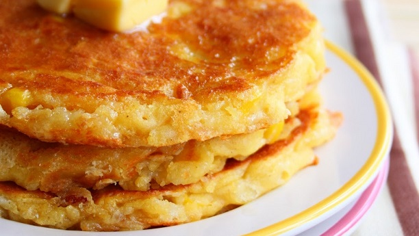 Eggless Polenta and Sweetcorn Pancakes