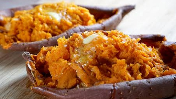 Gingerly mashed sweet potatoes with lime