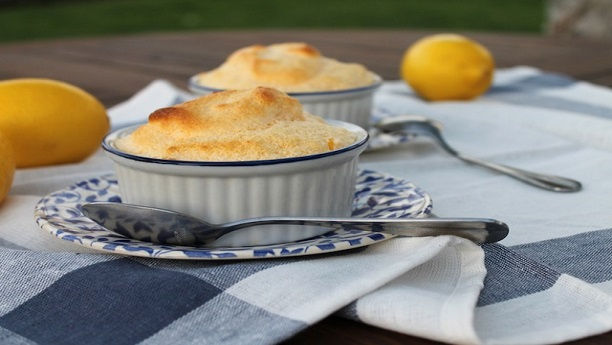 Hot lemon curd soufflés by Delia Smith