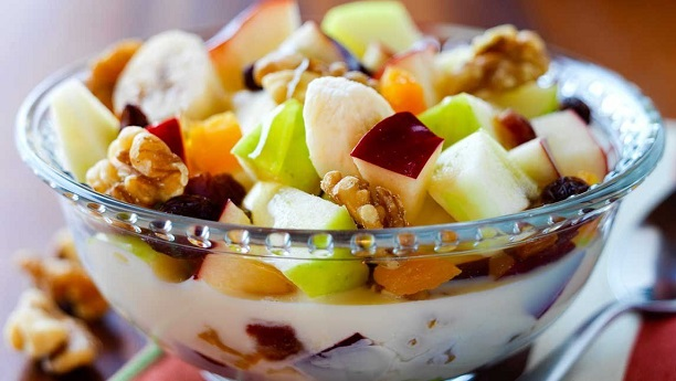 Milk Fruit Salad with Nuts