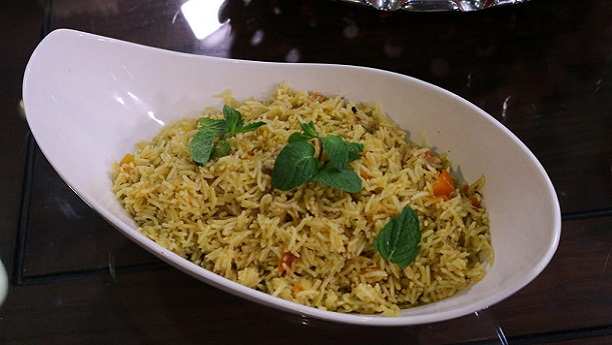 Olive Fried Rice with Roasted Capsicum