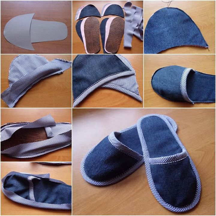 Home Slippers Using Old Jeans Art And Creativity Kfoods Com