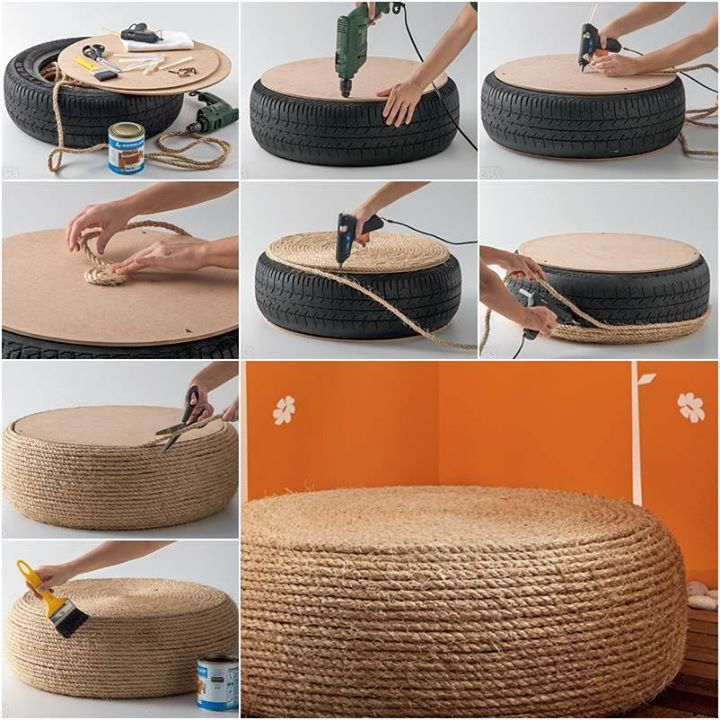 Turn Old Tire Into A Rope Ottoman Art And Creativity
