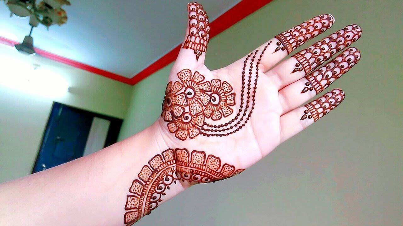 Unique Front Hand Mehndi Design by Rose Beauty Parlor