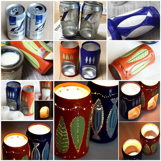 Candle Holders from Cans