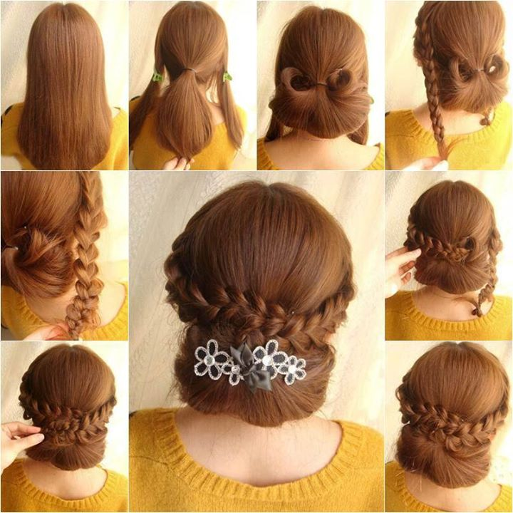 Girls Elegant Braids Hairstyle Fashion Style Photos