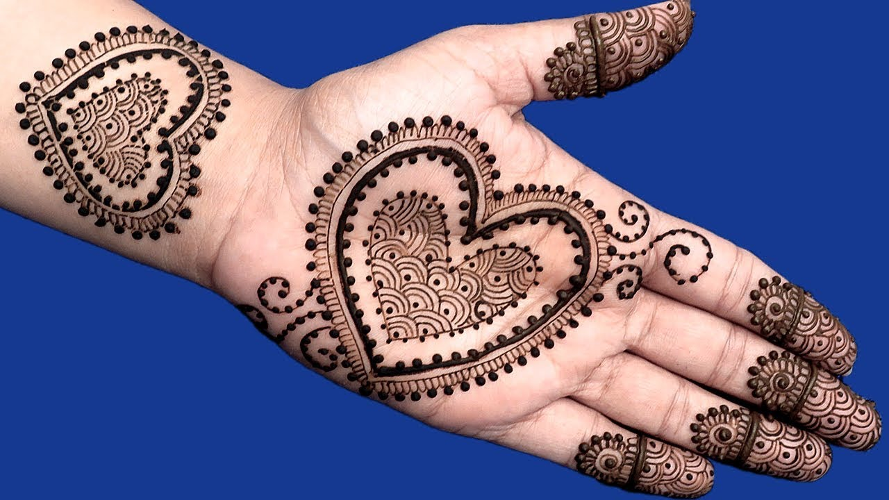 Simple Heart Henna Designs: Latest Pakistani Henna Mehndi Pics