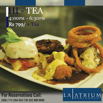 La Atrium Lahore Offer Hi-Tea in Rs. 799 + Tax !